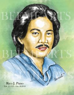 Rico J.Puno Artwork by BEEMEARTS Celebrity Drawings, Sketches, Portraits, Celebrities, Artwork, Movie Posters, Drawings, Celebs, Art Work