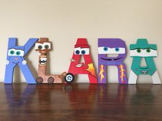 Disney Cars Birthday, Cars Birthday Parties, 2nd Birthday, Painted Letters, Wooden Letters, Crafts Fir Kids, Character Letters, Disney Crafts, Letter Art