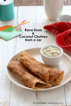 This Rava dosa Recipe is super easy. Make the mix and put it in a jar along with Coconut chutney mix. Add water and make crepes. Vegan Dairy-free Indian Recipe