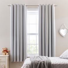 Add a subtle colour to your child's bedroom with this pair of elephant grey ready made blackout eyelet curtains, featuring a blackout lining which will block out external light. Available in a range of various sized drops, they are easy to hang and will ensure that your little one gets a good night's sleep.Professional cleaning in Hydrocarbon or equivalent reccomended. Grey Curtains Bedroom, Teen Curtains, Light Gray Bedroom, Blackout Eyelet Curtains, Grey Room, Blush Curtains, Curtains Dunelm, Room Design Bedroom, Room Ideas Bedroom