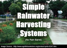TITLE: Simple Rainwater Harvesting System DESCRIPTION: You don't need a Rain Barrel to create a Simple Rainwater Harvesting System for Landscape Irrigation. Learn how to build a simple system.