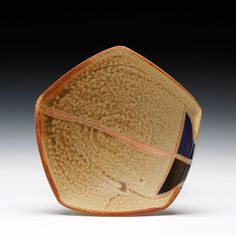 Jeff Oestreich  Description:thrown, cut, altered stoneware... soda fired with multiple glazes and latex decorationDimensions:3x7.5x7.5