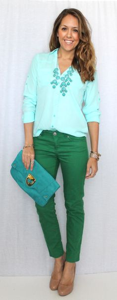 Cute color combo - I have green skinnies and I'm always looking for ways to style them.
