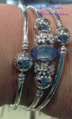 "Pandora Favourite Daisies and Disney Cinderella colour Murano. Great bangles"""