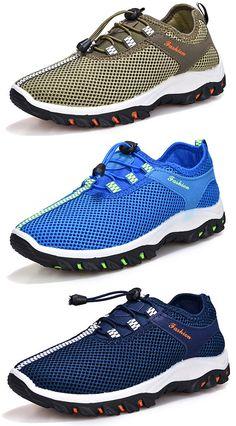 Men Breathable Mesh Adjustable Buckle Non-slip Hiking Trail Shoes