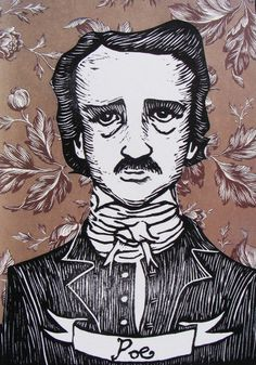 Edgar Allan Poe -- Linoleum Print - 2011 - The Great Writers Series - The Diggingest Girl