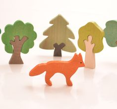 Fox Wooden Figures. Wooden farm animals, Waldorf toys, Montessori toys, Baby and…