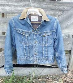 Distressed Vintage Lee Storm Rider Denim Jacket - Blanket Lined Denim  w Corduroy Collar - 4fb328e762b19