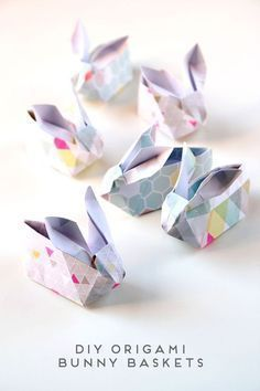 How cute are these DIY origami bunny baskets? This step by step tutorial will have you and your kids crafting like a master this Easter holiday! This is a great Easter kids' activity idea or simple placesetting for your brunch tablescape!