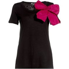 Bow Embellished T-Shirt (Black & Pink) by RED Valentino