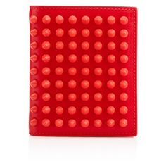 Christian Louboutin Paros Spikes Wallet ($450) ❤ liked on Polyvore featuring bags, wallets, corazon, genuine leather wallet, 100 leather wallet, leather wallet, real leather wallet and red leather bag