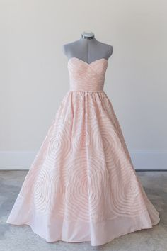 Wtoo - Camilla - This taffeta Camilla gown by Wtoo is beyond stunning with its ruched bodice, dramatic textural skirt with hand-pleated floral detailing, puddle skirt, and most notably, its beautiful blush color! A one of a kind.