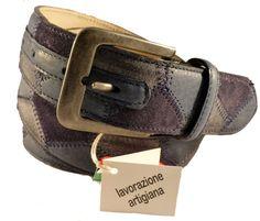 Blue leather belt for men, Florentine leather
