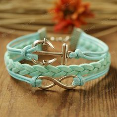 Infinity Bracelet - anchor bracelet  with infinity charm, unique Christmas gift, mint bracelet for girlfriend and BFF. $7.99, via Etsy.