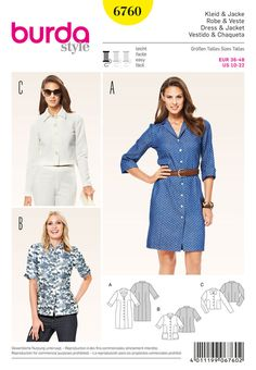 this cut is a true all-rounder: from the classic, buttoned shirt-blouse dress through the summer jacket with short sleeves and mandarin collar to the trendy short jacket, all made of striking materials.