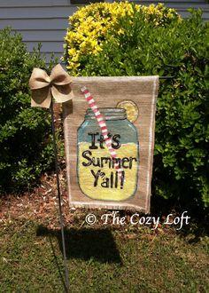 Lemonade It's Summer Y'all Country Mason Jar Burlap Garden Flag Outdoor Decoration