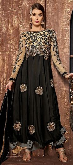 Get the most POWERFUL LOOK in #anarkali gowns, like this one. Flat 15% off + free shipping.  #IndianWedding #Fashion #Partywear #Women #SS15 #Black #Layering