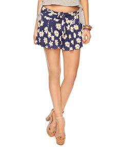 Forever 21 daisy print swing shorts