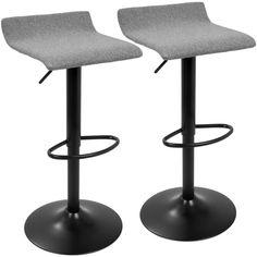 Ale XL Black and Gray Adjustable Height Bar Stool (Set of 2), Grey/Black