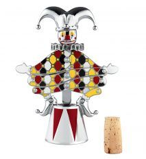 Marcel Wanders' latest collection for Italian design brand Alessi  - A corkscrew called The Jester, Gilberto, also sits on a podium, which hides the screw function. Once wound into a cork, the jester's body expands to remove it from the bottle. His hat acts as a handle.