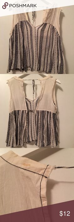 Free People Embroidered Voile Open Back Top Size M Great condition, worn a handful of times. Made in India. Small stain at top back shoulder, see pic. Free People Tops Tank Tops