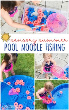 10 Ways to Play With Pool Noodles {Sensory Summer} - Fishing! This is the perfect outdoor activity for summer tot school, preschool, or kindergarten!