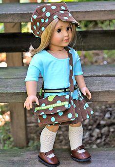 American Girl Doll 5 pc Outfit . Corduroy Pleated Skirt . Newsboy Hat . Dolman Sleeve Top . Messenger Bag . Belt. $40.00, via Etsy.