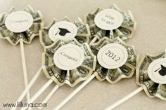 money toppers- I'm mine into a bouquet instead of cupcake tippers for Kenna's preschool graduation