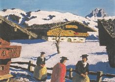 Biography, Literature and Works by Alfons Walde The Austrian painter and architect Alfons Walde was born on February 1891 in the village of Oberndorf near Kitzbühel. Sculpture Painting, Painting & Drawing, Human Settlement, Kunst Online, Museum, Skiing, Literature, Sculptures, Mountains