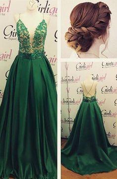 Dark Green Plunging Neckline Prom Dress with Spaghetti
