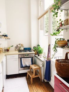 interior home, kitchen, stool, small space, big window, light
