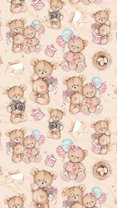 Teddy Bears Cute Disney Wallpaper, Kawaii Wallpaper, Pastel Wallpaper, Cute Wallpaper Backgrounds, Cute Cartoon Wallpapers, Pretty Wallpapers, Iphone Backgrounds, Iphone Wallpapers, Bear Wallpaper