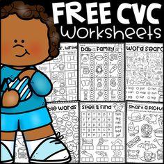 FREE Short Vowel CVC Worksheets by My Teaching Pal | TpT