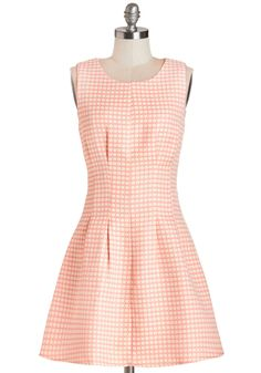 Convivial Brunch Dress. The mouthwatering aromas drifting from the brunch buffet are certainly alluring, and in this cream sleeveless fit and flare, you approach the enticing cuisine. #pink #modcloth
