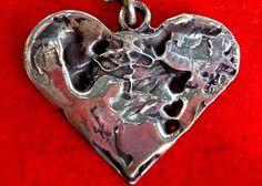 ".925 Sterling Silver Pendant ""My Heart"" 15-17"" Necklace Signed SD Valentines  $245.00 #Handmade #Pendant, www.springgallerymaine.com, www.modernartfoundry.com"