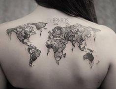 World Map Tattoos Design