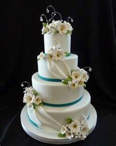 Teal, Champagne and White Wedding Cake