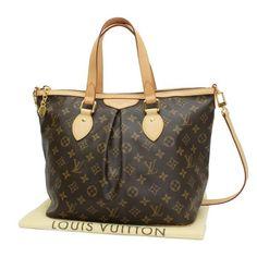 Louis Vuitton Palermo PM Monogram Handle bags Brown Canvas M40145