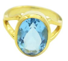 scenicbonny Blue topaz CZ Gold Plated Blue Ring supply US 6789