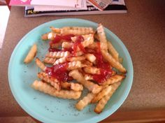 Baked french fries with a pinch of pepper.  I love french fries, why not bake them?