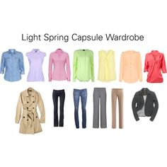 """Light Spring Capsule Wardrobe"" by katestevens on Polyvore. Like to see all-trouser options. 7 tops."