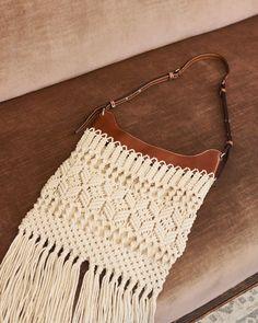 Crochet Shoulder Bags, Macrame Bag, Macrame Design, Summer Accessories, Fringe Trim, Isabel Marant, Crochet Top, Brown Leather, Women Wear