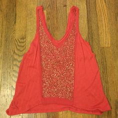 Silence and Noise Sequin Tank Great condition , really nice cut at the neckline - orangey/reddish color Urban Outfitters Tops Tank Tops