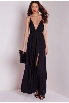 Chiffon Plunge Maxi Dress Black