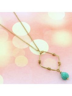 www.ewam.com Turquoise Bead and Goldtone Wire-Wrapped Diamond Pendant Necklace