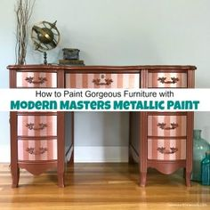Modern Masters metallic paint adds a gorgeous shimmer to your painted furniture. See how to paint with metallic copper and rose gold metallic paint stripes. Rose Gold Metallic Paint, Metallic Paint Colors, Rose Gold Painting, Painting On Wood, Metallic Painted Furniture, Metal Furniture, Paint Furniture, Furniture Makeover, Vintage Furniture