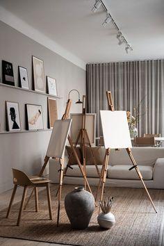 modern home interior design idea to copy Home Art Studios, Art Studio At Home, Home Interior, Interior Decorating, Studio Decorating, Apartment Interior, Interior Paint, Apartment Living, Interior Styling