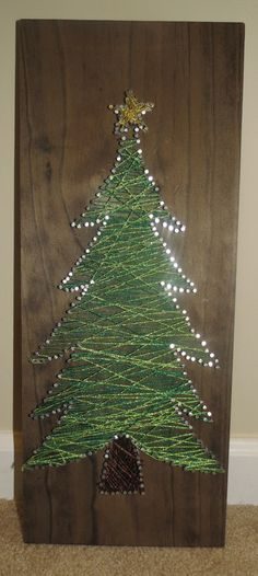 board, yarn and nail christmastree - Google Search