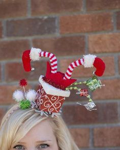 Over the Top Christmas Elf and Christmas Present Inspired Headband Tacky Holiday or Ugly Christmas Sweater Party Diy Christmas Hats, Funny Christmas Outfits, Best Ugly Christmas Sweater, Holiday Hats, Christmas Trends, Christmas Fashion, Grinch Christmas, Christmas Kitchen, Christmas Decorations