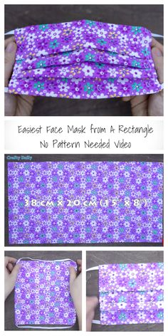 Easy Rectangle Fabric Face Mask DIY Tutorials+ Video: Face Mask from One Retangle Piece of fabric Fabric Crafts, Sewing Crafts, Sewing Projects, Fabric Art, Fabric Sewing, Cotton Fabric, Sewing Hacks, Sewing Tutorials, Free Tutorials